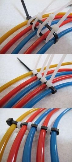 absolutely genius storage solution for your wires that is easy and inexpensive. Zip ties!
