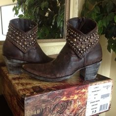 **SOLD**Old Gringo Studded Ankle Boots Old Gringo MiniBelinda Distressed Brown Leather Studded Ankle Boots.  Gorgeous boots, Old Gringo quality.  Brand new w/box.  No Trades, Firm Price. Old Gringo Shoes Ankle Boots & Booties