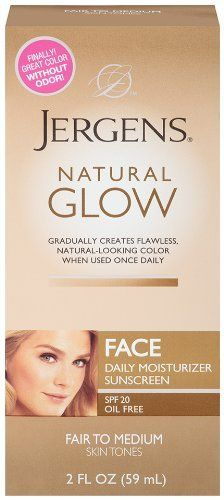 Jergens Glow Face Daily Moisturizer Sunscreen SPF 20, Fair to Med, 2 Ounce:Amazon:Beauty