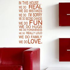 LARGE QUOTE HOUSE RULES FAMILY LOVE FUN ART WALL STICKER STENCIL VINYL DECAL | eBay
