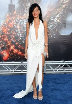 97a9700b2b Rihanna and Brooklyn Decker s red carpet Battle(ship) - Fashion Galleries. Rihanna  Sexy Open Back Halter Plunging Slit White Prom Dress Battleship Premiere