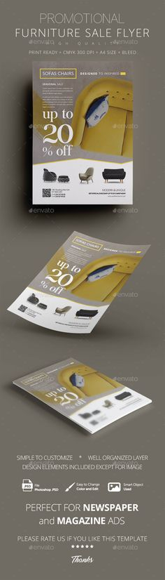 Furniture Promotional Sales Flyer Design Template - Commerce Flyers Template PSD. Download here: https://graphicriver.net/item/furniture-promotional-sales-flyer/16987812?s_rank=148&ref=yinkira
