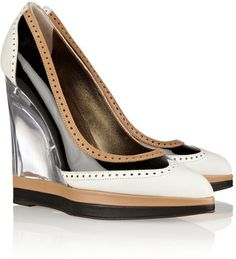 Lanvin Leather and patent brogue-style wedges Lanvin