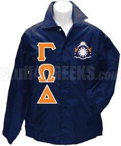 Navy blue Gamma Omega Delta crossing jacket with the crest on the left breast and the Greek letters down the right.