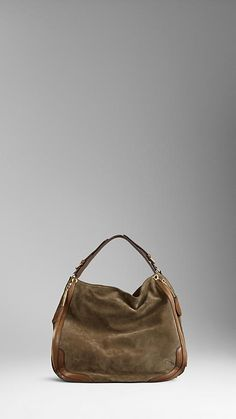 Large Hunting Suede Hobo Bag | Burberry