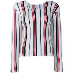 Frame Denim Striped Knitted Top ($350) ❤ liked on Polyvore featuring tops, vertical stripe top, multi color tops, striped long sleeve top, stripe top and frame denim