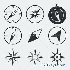 Navigation Compass Flat Icons Set 6958706