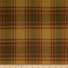 Primo Plaids Christmas Flannel Large Plaid Olive from @fabricdotcom  From Marcus Brothers Fabrics, this soft, lofty flannel is double napped (brushed on both sides), yarn dyed and medium weight (6.5 oz per square yard). Use for quilting, shirts, loungewear and blankets. Colors include gold, red, and hunter green.
