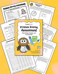 FREE Math Problem Solving Assessment Pack - Includes 4 different levels of math word problem tests with answer keys; has pretest and posttest for each level - Designed for grades 2 - 6