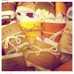 Wedding reception at a bowling alley... Fun little sock favors. Source: @mustardandplum on instagram.