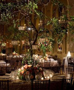 Indoor Garden Wedding - Trees with mini chandeliers - Gorgeous #weddingdecorations #weddingtree #chandeliers