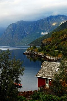 Aurlandsfjorden, Norway  #Norway # Love the fish scale tiles on the roof of that cabin and the views would be stunning!
