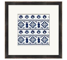 Inspired by traditional blue-and-white porcelain tiles, this small-scale giclée reproduction adds a charming touch to any space. Designed with a distressed black frame, the art features a double-thick top mat. Mirror Wall Art, Frame Wall Decor, Diy Wall Art, Wall Art Decor, Pottery Barn Wall Art, Pottery Barn Teen, How To Make Signs, Making Signs, White Porcelain Tile
