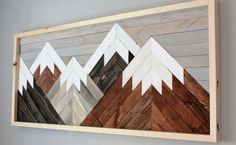Reclaimed Wood Wall Art Mountain Scene by HollyBeeandCompany