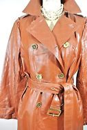 IMAN Womens L Button-Down Leather Basic Jacket Brown Rust Coat Top Ladies belted