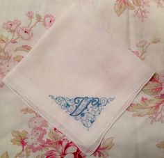 A personal favorite from my Etsy shop https://www.etsy.com/listing/272251358/vintage-hanky-white-with-blue-initial-v