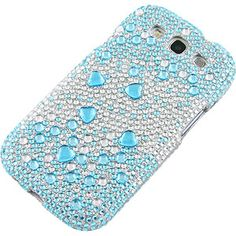 Rhinestones Protector Case for Samsung Galaxy S III, Blue Silver Gems Full Diamond $14.99 From #DayDeal