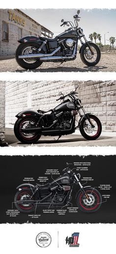 The mile-eating performance of our Dyna chassis wrapped in no-nonsense, stripped-down, hardcore bobber style.   2017 Street Bob
