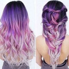 Best Ombre Hair – 41 Vibrant Ombre Hair Color Ideas Dark to Light Purple Ombre Hair Color //. Did you know that most dudes won't even actually notice your clothing. 33 Try Grey Ombre Hair This Season 25 besten kurzen lila Frisuren Hair Color Purple, Cool Hair Color, Purple Ombre, Ombre Color, White Ombre, Color Black, Dark Ombre, Purple Tips, Silver Ombre