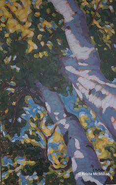 Many of my tree paintings are looking up at trees. I find this angle much more interesting and less static than a straight on view of a tree. I love the warm summer colours in this whimsical tree painting. Bruce Peninsula National Park.