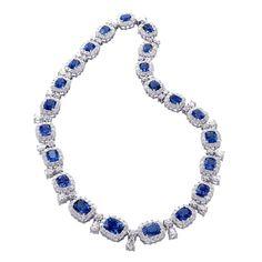 Natural Unheated Sapphire Diamond Necklace