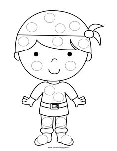 Bingo Marker Coloring Pages - Dot Pirate - Christina Martin - Ich Folge Pirate Activities, Craft Activities For Kids, Preschool Crafts, Pirate Preschool, Bingo, Dot Painting, Painting For Kids, Fruit Coloring Pages, Dotted Page