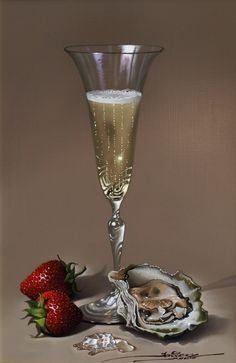 Champagne, Oysters and Strawberries Painting Still Life, Still Life Art, Hyper Realistic Paintings, Cork Art, Still Life Photos, Wine Art, A Level Art, In Vino Veritas, Realism Art