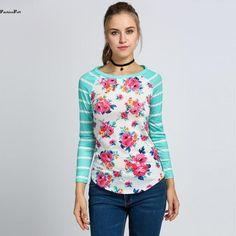 b1f691e98ca80 Full Sleeve Tshirts Cotton Women Striped Floral Patchwork Raglan Long  Sleeve Tshirt Women Tee Shirt Femme Plus Size T-shirt 5
