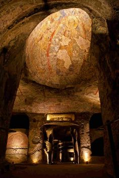 The Catacombs of San Gennaro are underground paleo-Christian burial sites in Naples,