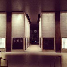 Seagram Lobby - copper clad columns flush with travertine finish.@rozamatveeva (Roza Matveeva) s Instagram photos | Webstagram - the best Instagram viewer