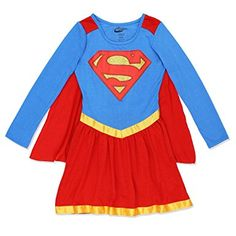 5261e0b32 DC Comics Supergirl Satin Edged Nightgown With Cape Cute Pajamas, Girls  Pajamas, Girls Jeans