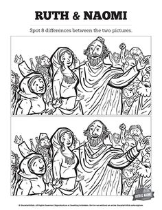 Ruth and Naomi Kids Spot The Difference: Though they look similar they're not! Can you spot the difference between these two Ruth and Naomi Bible illustrations? Produced with vibrant lesson related artwork, this Bible activity page makes a wonderful addition to your Ruth and Naomi Sunday school lesson.