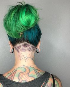 """Mother of Mermaids """"I have no fear of depths and a great fear of shallow living."""" Told ya I was a mermaid! My love @livinlanitaloca decided it was time to show my mermaid scales today. She fixed my mini-undercut up right! Just add glitter...  Undercut done using @jrlusa clippers and trimmers. Color done by @scissorfingers12 using @iroirocolors with @brazilianbondbuilder added. Gold Buddha accessory by @pulleez"""