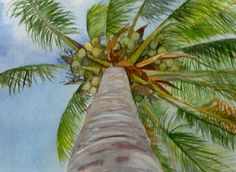 Palm Gazing, Watercolor by Heather Torres