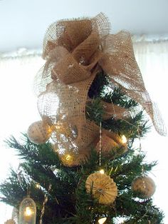 burlap tree topper