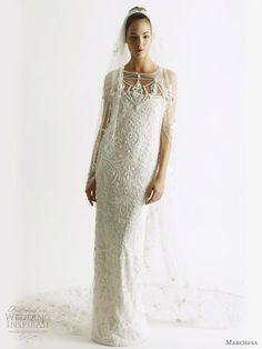 Marchesa wedding dress  Spring/Summer 2011 bridal collection - column or sheath gown with pearl straps