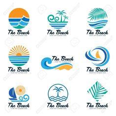 Illustration about The beach logo with sea wave , coconut leaf , boat and sun vector set design. Illustration of icon, company, beach - 92658027 Surf Design, Beach Design, Hotel Logo, Logo Restaurant, Sea Logo, Beach Icon, Coconut Leaves, Retro Graphic Design, Waves Logo