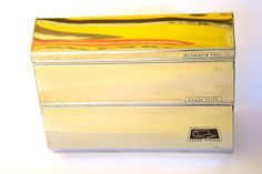 Vintage Metal Kitchen Paper Dispenser for Aluminum Foil, Waxed Paper and Paper Towels Chrome and Mustard Mellow Yellow by retrowarehouse on Etsy