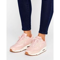 Nike Air Max 90 Premium Trainers In Pink (£120) ❤ liked on Polyvore featuring shoes, sneakers, pink, pink high tops, lace up high top sneakers, lace up sneakers, lightweight sneakers and pink high top sneakers