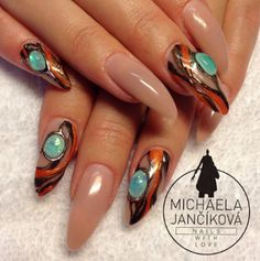 Michaela merged stones, foil, and color to create an earthy fall look.
