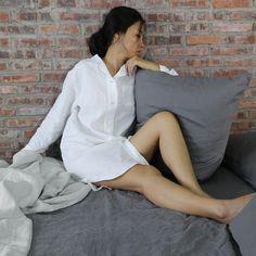 Long Soft Washed Linen Night Shirt