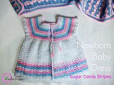 Ravelry: Sugar Candy Stripes: Crochet Newborn Baby dress pattern by Erangi Udeshika
