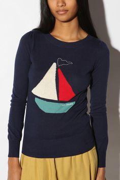 Cooperative Conversational Puff Sleeve Sweater
