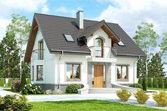 Projekt domu z poddaszem o pow. 122,4 m2 z dachem dwuspadowym, z tarasem, z wykuszem, sprawdź! Home Fashion, Future House, Building A House, Gazebo, House Plans, Sweet Home, Shed, Villa, Exterior