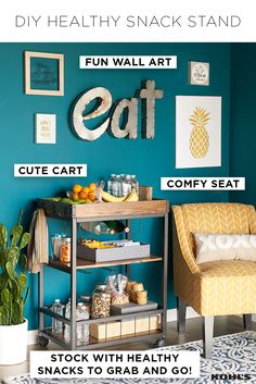 "Eating healthy doesn't have to be challenging. Put healthy and easy-to-eat snacks out for the whole family to encourage eating right on the go. Featured product includes: Belle Maison ""love you more"" box sign art and ""you are my sunshine"" box sign art; Stratton Home Decor ""you are my sunshine"" framed wall art; Charlotte swoop arm chair."
