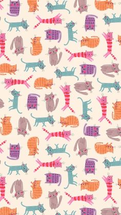 cats all-over pattern. maybe fabric or wallpaper. Cat Wallpaper, Animal Wallpaper, Pattern Wallpaper, Wallpaper Backgrounds, Iphone Wallpaper, Seagrass Wallpaper, Live Wallpapers, Paintable Wallpaper, Colorful Wallpaper