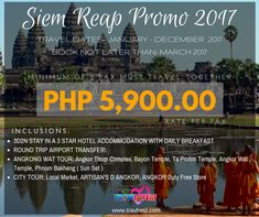Siem Reap Budget Tour for PHP 5,900.00/PAX  Sale Period: December 2016 - March 2017 Travel Period: December 2016-December 2017 Inclusions: -3D2N HOTEL STAY -DAILY BREAKFAST -ROUND TRIP AIRPORT TRANSFER -ANGKOR WAT TOUR -CITY TOUR #siemreap #cambodia #travel #package #trip #tour
