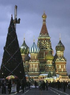 Christmas trees, Russia- when I visited, they were forced to call them New Year Trees- a rose by any other name??