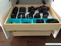 Organizing Camera Equipment - ideas for storing camera, lenses, cables, accessories & manuals.