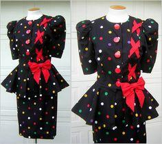 40s Style Vintage Peplum Dress Black & Red Fun by FashionPuss